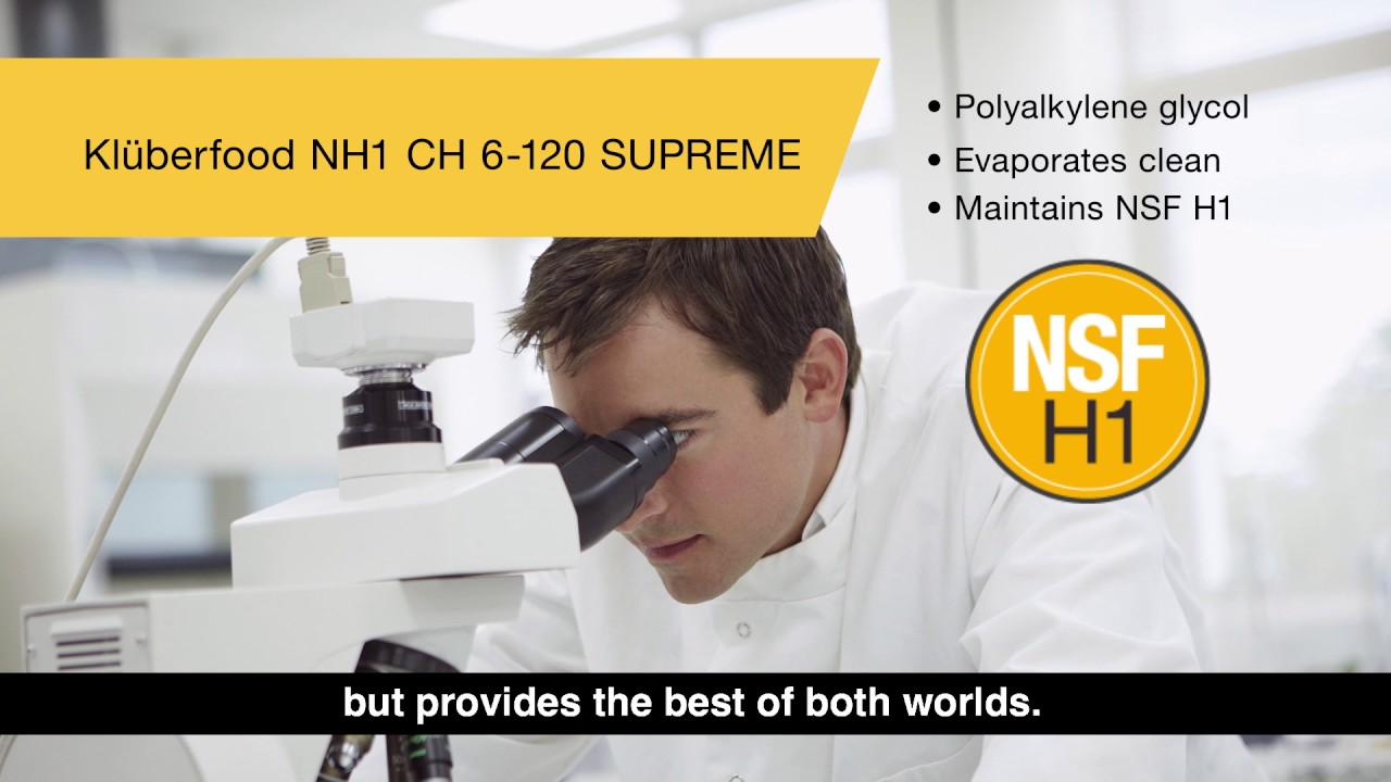 Get food-grade lubricant protection at high temperatures with Klüberfood NH1 CH 6-120 SUPREME